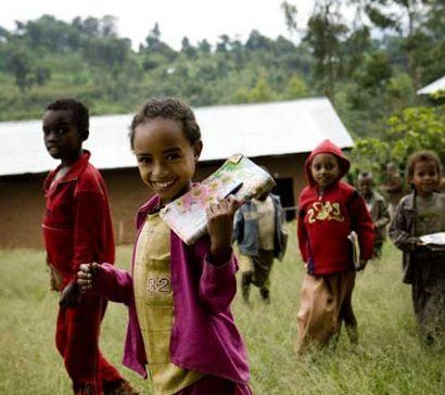 Ethiopian kids at school funded by Fairtrade premium.
